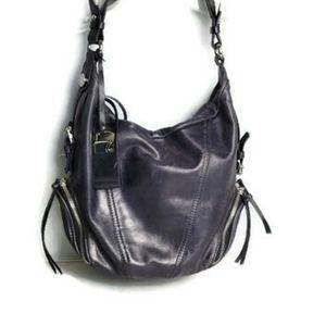 Francesco Baisia Purple Leather Purple Handbag